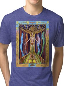 Woman in harmony with nature. Love nature concept. Ecological concept hand drawn illustration. Tri-blend T-Shirt