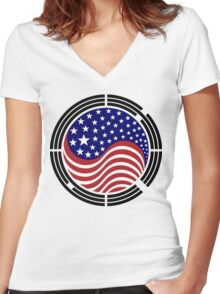 Korean American Multinational Patriot Flag Series Women's Fitted V-Neck T-Shirt