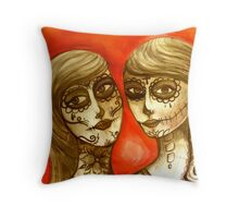 day of the dead sisters  Throw Pillow