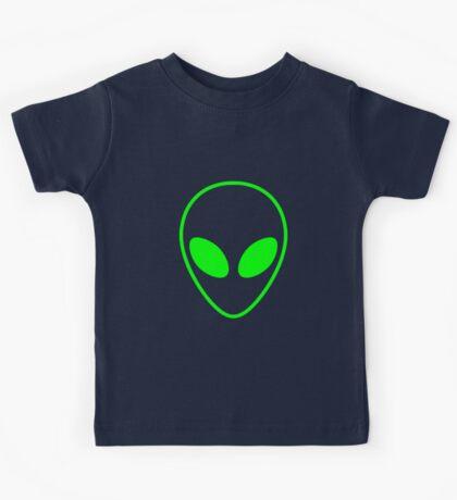 Alien Head Outline Green Kids Tee