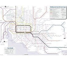 Melbourne train and tram map Photographic Print