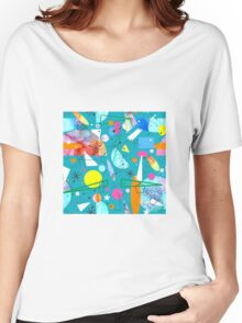 Mid Century Modern - Abstract teal Women's Relaxed Fit T-Shirt