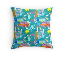 Mid Century Modern - Abstract teal Throw Pillow