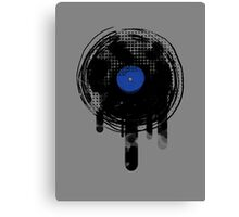 Melting Vinyl Records Vintage Blue Art Canvas Print