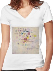 Kandinsky - Graceful Ascent Women's Fitted V-Neck T-Shirt