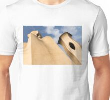 Whimsical Chimneys - Antoni Gaudi's Smooth Shapes and Willowy Curves - Left Unisex T-Shirt