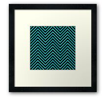 Black Blue Chevron Framed Print