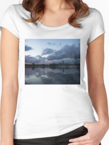 Reflecting on Boats and Clouds Women's Fitted Scoop T-Shirt