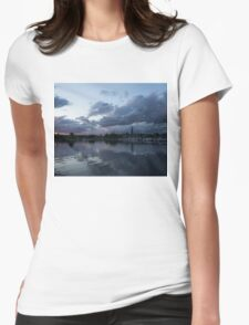 Reflecting on Boats and Clouds Womens Fitted T-Shirt