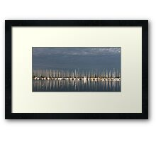A Break in the Clouds - Gray Sky, White Yachts Framed Print