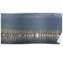 A Break in the Clouds - Gray Sky, White Yachts Poster