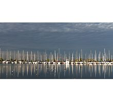 A Break in the Clouds - Gray Sky, White Yachts Photographic Print