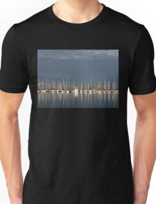 A Break in the Clouds - Gray Sky, White Yachts Unisex T-Shirt