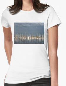 A Break in the Clouds - Gray Sky, White Yachts Womens Fitted T-Shirt