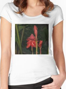 Red Torch Ginger Lily - Glossy, Exotic and Wonderful Women's Fitted Scoop T-Shirt