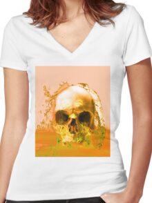 Golden Skull in Water Women's Fitted V-Neck T-Shirt