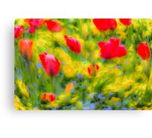 English Summer Flowers Pastel Art Canvas Print
