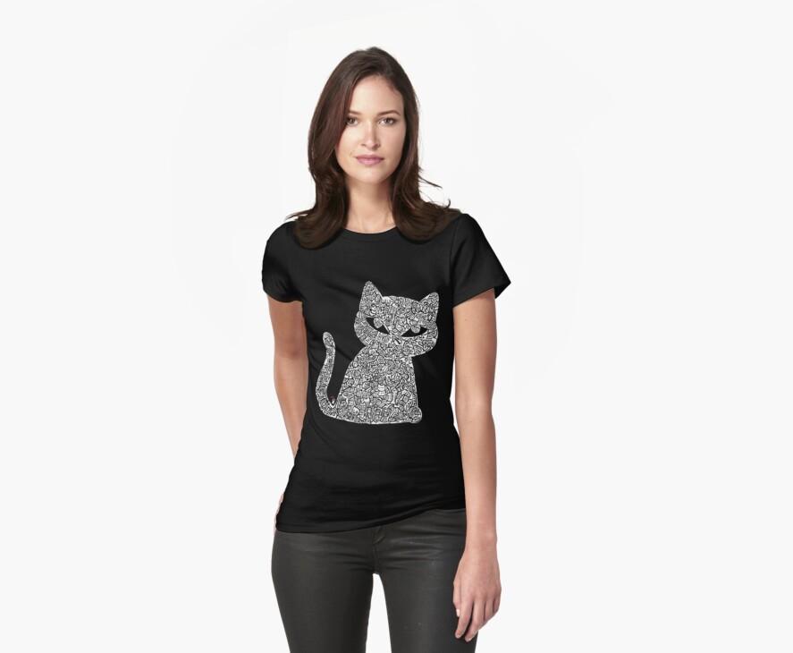 White Ink Rain Cat T-shirt by InkRain