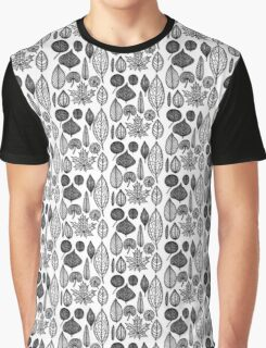 Black and White Leaves Graphic T-Shirt