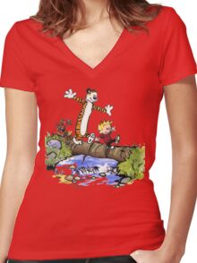 Calvin and Hobbes Adventure Women's Fitted V-Neck T-Shirt