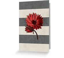 botanical stripes - red water lily Greeting Card
