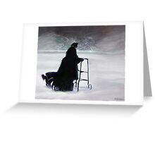 Old Woman With Dog Greeting Card