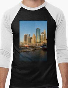 Early Morning Harbor - Lower Manhattan Skyline and South Street Seaport Historic Ships Men's Baseball ¾ T-Shirt