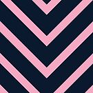 v lines - pink and navy by beverlylefevre
