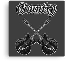 Country Music Black Guitars Canvas Print