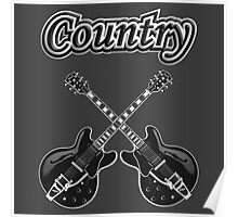 Country Music Black Guitars Poster