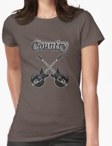 Country Music Black Guitars Womens Fitted T-Shirt