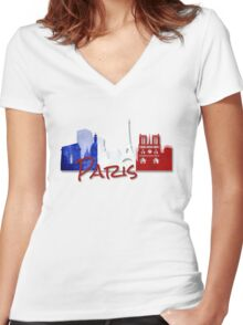 Paris France with French Flag Women's Fitted V-Neck T-Shirt