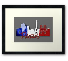 Paris France with French Flag Framed Print