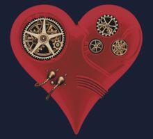 Steampunk Red Clockwork Heart One Piece - Short Sleeve