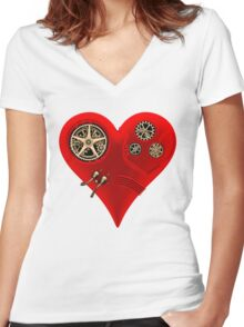 Steampunk Red Clockwork Heart Women's Fitted V-Neck T-Shirt