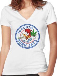 Toronto Burn Jays Women's Fitted V-Neck T-Shirt
