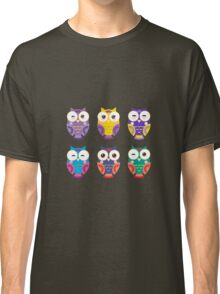 Funny owls on a branch Classic T-Shirt