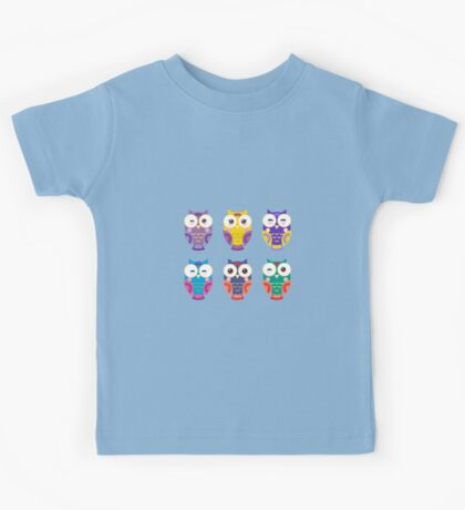Funny owls on a branch Kids Tee
