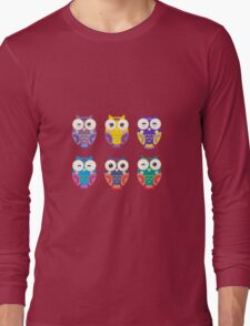 Funny owls on a branch Long Sleeve T-Shirt