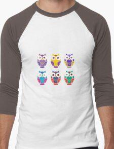 Funny owls on a branch Men's Baseball ¾ T-Shirt