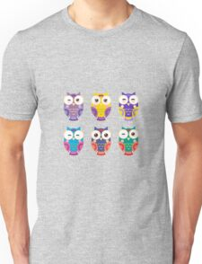 Funny owls on a branch Unisex T-Shirt