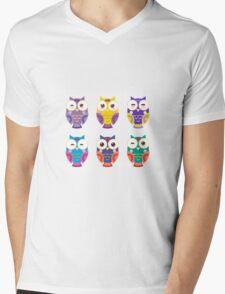 Funny owls on a branch Mens V-Neck T-Shirt