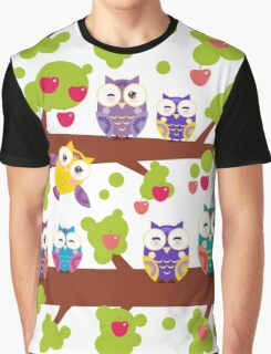 Funny owls on a branch Graphic T-Shirt