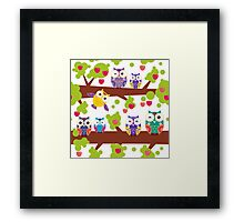 Funny owls on a branch Framed Print