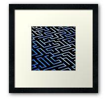 Blue labyrinth pattern on a black background Framed Print