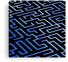 Blue labyrinth pattern on a black background Canvas Print