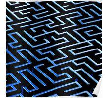 Blue labyrinth pattern on a black background Poster