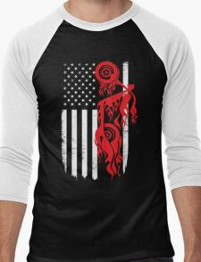 Biker Motobiker Flag Day Memorial T-shirt Men's Baseball ¾ T-Shirt