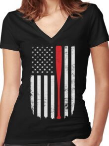 Baseball, Flag Day Memorial T-shirt Women's Fitted V-Neck T-Shirt