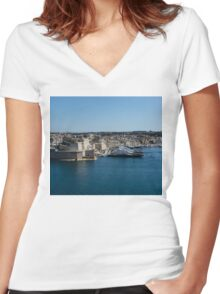 Postcard from Malta - Grand Harbour Superyachts Women's Fitted V-Neck T-Shirt